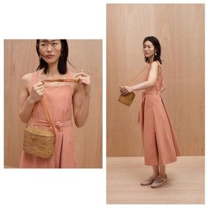 Madewell Peach Waist Tie Apron Maxi Dress
